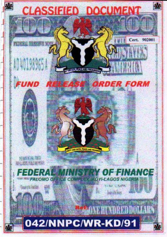 Nigerian fraud 419 example certificates i like this one look at the background of the certificate its a stretched 100 dollar bill yelopaper Choice Image